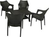 Mavi Black Plastic Table & Chair Set (Fi...