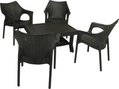 Mavi Black Plastic Table & Chair Set(Finish Color - Black)