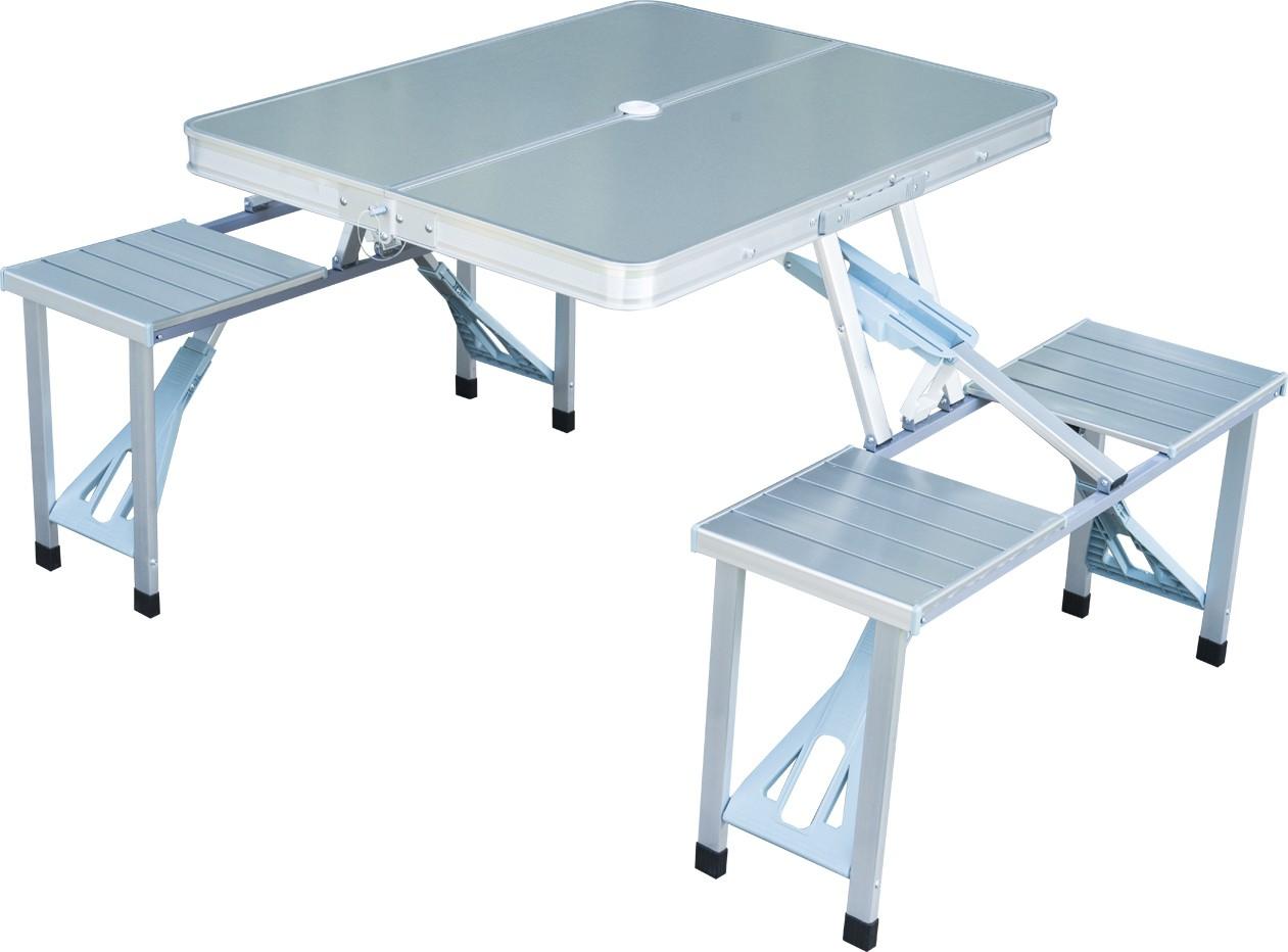 View Globalepartner Matt Silver Metal Table & Bench Set(Finish Color - Matt Silver) Furniture (Globalepartner)