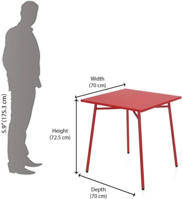 @home by Nilkamal Berry Metal Outdoor Table(Finish Color - Red)