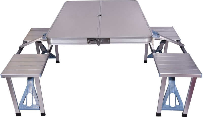 Brecken Paul Portable Aluminum Metal Outdoor Table(Finish Color - Grey)