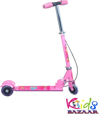 Kids Bazaar Smash Street 3 wheel Kids Scooter With Led Wheels, Foldable, Adjustable Height, Brakes And Bell  Pink  Pink  available at Flipkart for Rs.634