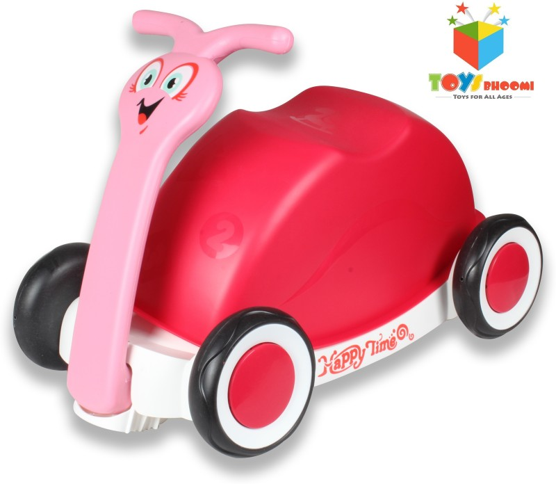 Toys Bhoomi Multipurpose 3-in-1 Push, Pull & Ride-on Walker Snail Wagon(Pink)