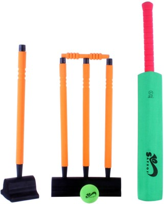 Safsof 27 Inches Rubber Foam Cricket Set – Green & Orange