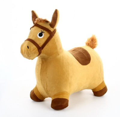 Madink Inflatable Bouncy Horse Ride on Toy - Plush Covered with Velvet