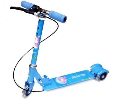 WonderKart Height Adjustable 3 Wheels Kids Scooter with Brake & Led Lights in Wheels(Blue)