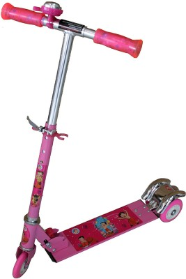 Adraxx Pink Tri-wheel Scooty With PU With LED Lights for Kids