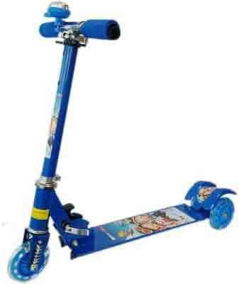 ODDEVEN Blue 3 Wheel Skating Scooter With Shock Absorbers And Bell For Kids (Foldable, Height Adjustable)
