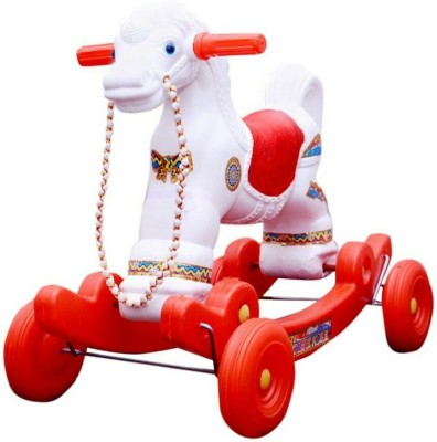 Kidz White Red Horse With Wheel
