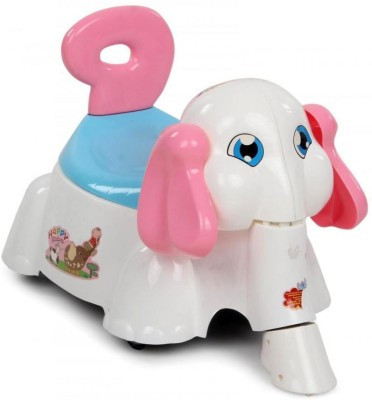 Suzi Happy Elephant Ride On Cum Poty Chair - White