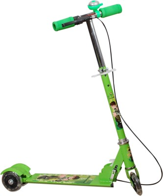 ADYGM Green 3 Wheel Skating Scooter With Hand brake And Bell For Kids (Foldable, Height Adjustable, Ben 10 theme)