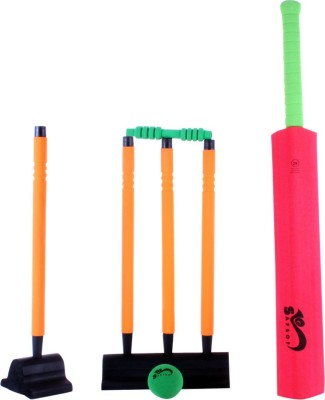 Safsof 29 Inches Rubber Foam Cricket Set – Red And Orange