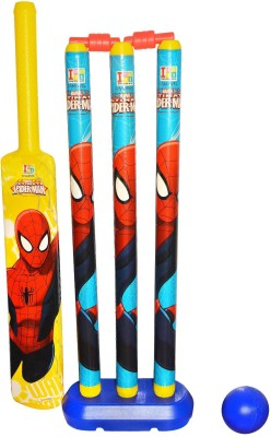 Disney Spiderman Senior Plastic Cricket Set With Bat, Ball, 3 Wickets, 1 base and bails - Senior Cricket