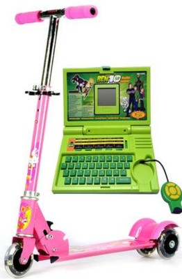 99DOTCOM Bay LED Light ,Bell and Breaks Scooter With Ben 10 English Lerner laptop