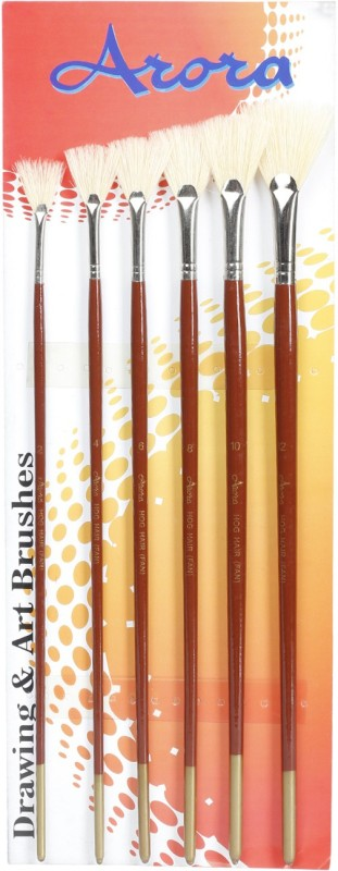 Kabeer Art Series 18 Fan Paint Brushes(Set of 6, Brown)