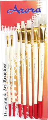 Kabeer Art Series 35 Flat Paint Brushes(Set of 7, White)
