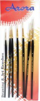 Kabeer Art Series 35 Round Paint Brushes(Set of 7, Black)