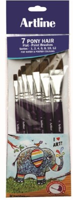 Artline Pony 7 Flat Paint Brushes(Set of 7, Blue)