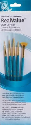 Princeton Real Value Round, Liner, Angle Shader Paint Brushes(Set of 5, Blue)