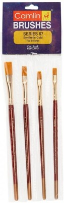 Camlin Flat Paint Brushes(Set of 4, Gold)