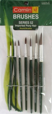 Camlin Pony Round Paint Brushes(Set of 7, Green)