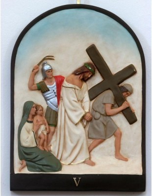 Artzfolio 5th Stations Of The Cross, Simon Of Cyrene Carries The Cross Framed Art Print Canvas Painting