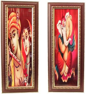 Aarzool Ganesha & Krishna Canvas Painting