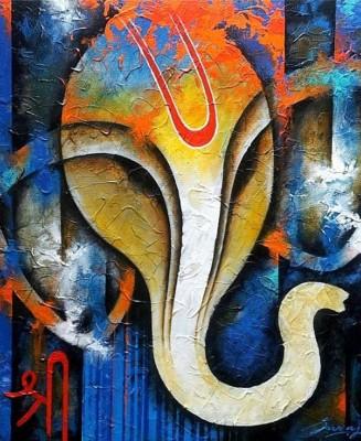 Tiedribbons Lord Ganesha unframed Cotton Medium Grain Canvas Roll (Set of 1)