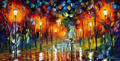 Red2red Couple Enjoying Rain Night Out Canvas Painting