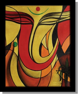 Yudezine Ganesha Face Art Orange Canvas Painting