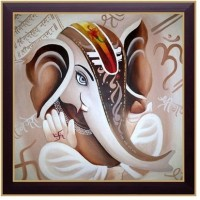 Nilgiri Touch Ganesha Photo Frame Canvas Painting(13 inch x 13 inch)