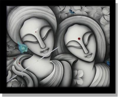 Yudezine Radha Krishna Modern Grey Canvas Painting