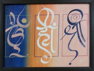 Jhula Mehta Aum-Hrim-Shrim Canvas Painting