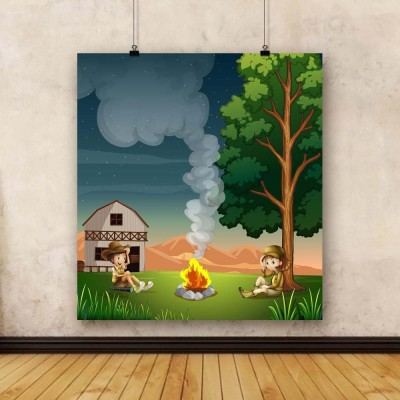 Artzfolio Two Explorers Making A Campfire Unframed Art Print Canvas Painting