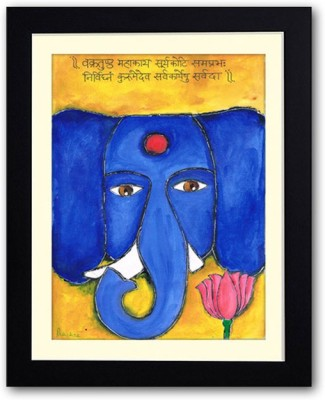 Uncommon Stuffs Blue Ganesha with a Lotus Canvas Painting