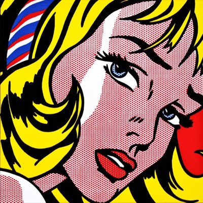 Ocher Art 30x30 INCHES, Roy Lichtenstein  Girl with Hair Ribbon Canvas Painting 30 inch x 30 inch  available at Flipkart for Rs.8200