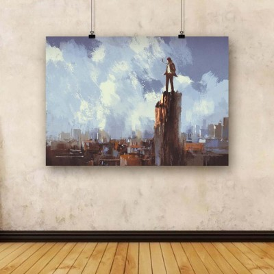 Artzfolio Businessman Stands On The Peak Unframed Art Print Canvas Painting