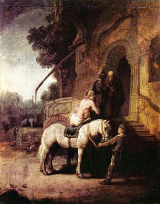 The Merciful Samaritan by Rembrandt Paper Print