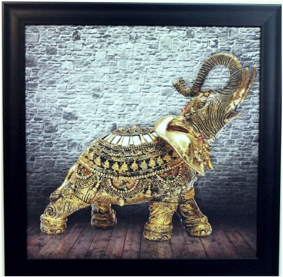 eCraftIndia Jewelled Elephant Showpiece  -  35 cm(Wooden, Paper, Multicolor)