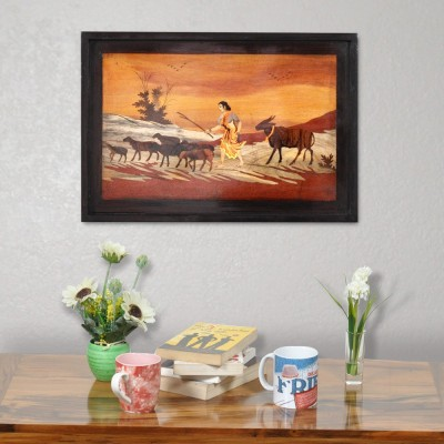 Designer Lanes ,Village Scene -Shepherdess with goats at sunrise, Rosewood Wall Panels by Designer Lanes Natural Colors Painting