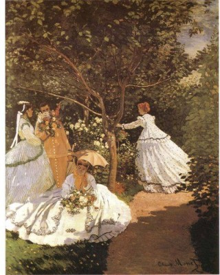 Snapgalaxy Art Panel - Femmes au jardin 1867 by Monet Canvas Painting