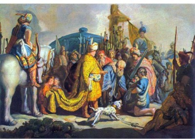 Snapgalaxy Art Panel - David with Goliath before Saul by Rembrandt Canvas Painting