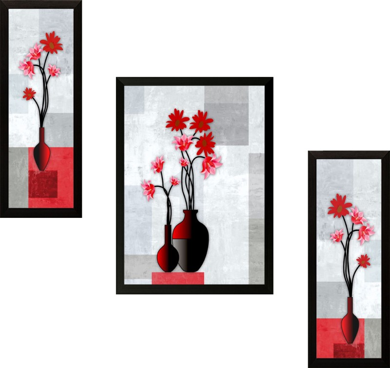 SAF Set of 3 Flowers Digital Reprint Painting(13.5 inch x...