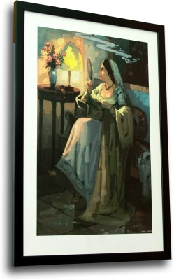 AVS Retail Lady with Lamp Art Canvas Painting