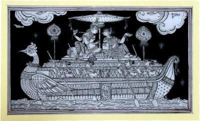 Buy Sell Craft Radha & Krishna Wondering In River Yamuna Pattachitra Traditional Art Canvas Painting