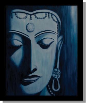 Yudezine Blue Budha face Canvas Painting