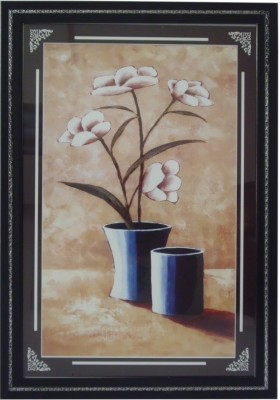 Quality Mart White Flowers In A Vase With A Frame Watercolor Painting