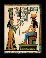Artzfolio Egyptian Papyrus Depicting Queen Nefertari Making An Offering To Isis Framed Art Print Digital Reprint Painting(8.0 inch x 6.0 inch)