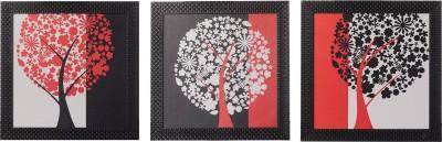 eCraftIndia Set Of 3 Tree View Showpiece  -  30 cm(Wooden, Paper, Multicolor)