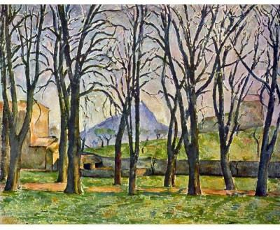 Snapgalaxy Art Panel - Chestnut Trees in Jas de Bouffan by Cezanne Canvas Painting
